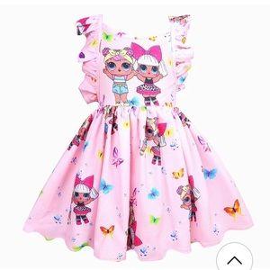 NWT Girls Pink LOL Surprise Dolls dress & Hair Bow